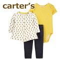 カーターズcarter's正規品長袖ジャケット+半袖ボディスーツ+レギンスの3点セット☆黄色花柄☆カーディガンセットアップ