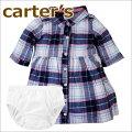 【2018新作】【送料無料】Carter'sカーターズ正規品ブルマ付き,七分袖,ワンピース☆チェック☆