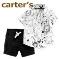 【送料無料】【2019新作】カーターズCarter's正規品襟付きシャツ+コットンパンツの2点セット☆モノトーン☆男の子