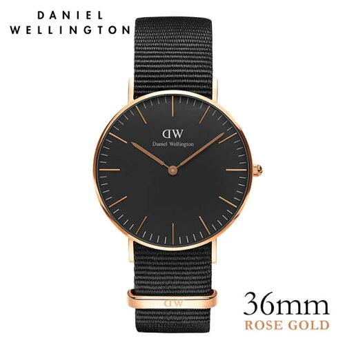 ダニエルウェリントン Daniel Wellington 36mm クラシックブラック コーンウォール ローズゴールド...