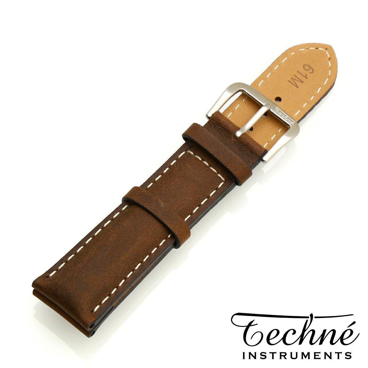 腕時計用アクセサリー, 腕時計用ベルト・バンド Techne Italian cowhide SS chestnut