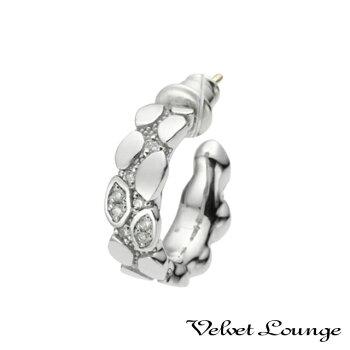 VelvetLounge【ヴェルヴェットラウンジ】ジオメトリースケールフープピアスホワイト/キュービックジルコニア