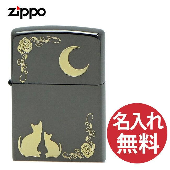 【名入れ無料】 zippo ジッポ ジッポー NKM-BK ブラックニッケル キャット&ムーン zippoレギュラー 【RCP】画像