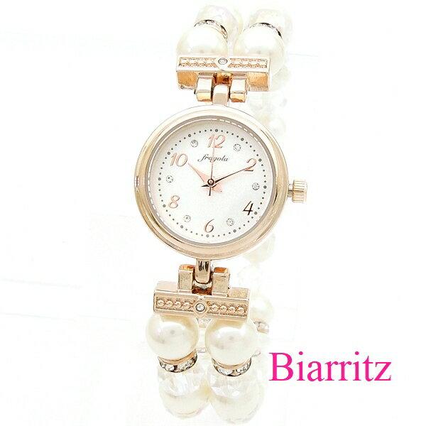 パールとオーロラビーズフリーサイズ2連ブレスレットウォッチ ピンクゴールド/ホワイト 腕時計レディース最大43.5倍 お買い物マ
