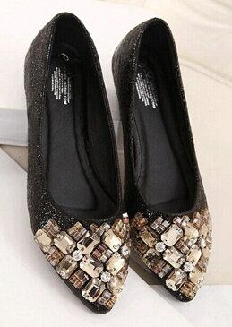 【Diary of love 愛の日記】パンプス ペタンコ靴 数量限定!! 低反発クッションソール 美脚 ポインテッドトゥ プレーン ベーシック パンプス 結婚式 パーティー パンプス 靴 きらきらラメ素材で華やかに 大きいサイズ ローヒール パンプス