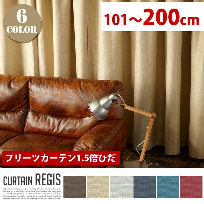 Regis(レジス) プリーツカーテン【1.5倍ひだ】 (幅:101−200cm) 全6色(WH、BE、BR、RD、BL、NV)送料無料