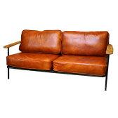 褐色ブラウンのオイルレザーとIronフレームのMIX!Selma leather sofa Burnt(セルマレザーソファ バーント) BIMAKES(ビメイクス) 送料無料