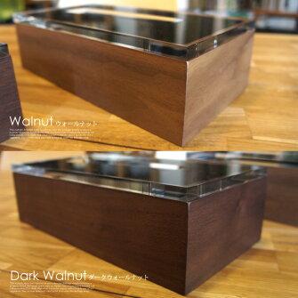 アクリルとウッドが醸し出す高級感!ディスダブリューティッシュボックス(DixWTissueBox)カラー(ウォールナット/ダークウォールナット)
