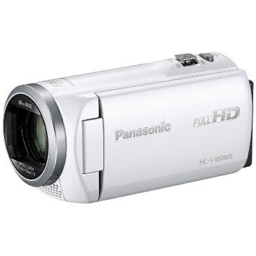 【送料無料】 パナソニック Panasonic SD対応 32GBメモリー内蔵フルハイビジョンビデオカメラ(ホワイト) HC-V480MS-W[HCV480MS]