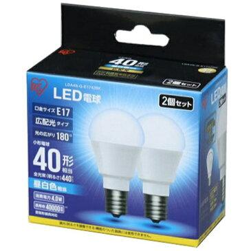アイリスオーヤマ IRIS OHYAMA 調光器非対応LED電球 (全光束440lm/昼白色相当・口金E17/2個入) LDA4N-G-E1742BK 【ビックカメラグループオリジナル】[LDA4NGE1742BK]