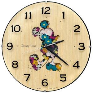 2568f32cd1 セイコー SEIKO 掛け時計「Disney Time(ディズニータイム)ミッキー」 FW586B[FW586B] □ミッキー のシルエットが花柄になった凹凸のある文字板の掛け時計です。
