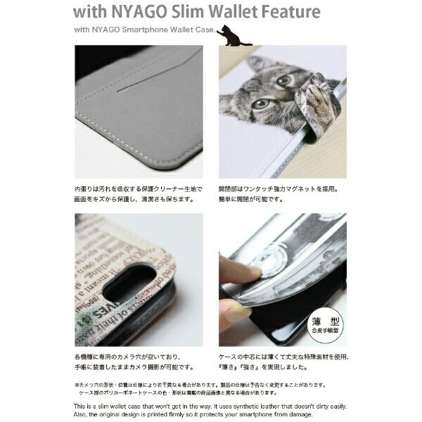 CaseMarket NYAGO iPod-touch6 スリム手帳型ケース NYAGO ノート キュート メガネ フェイス キャット キュート バック イラスト iPod-touch6-BNG2S2248-78