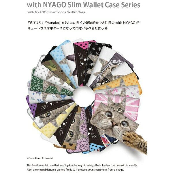 CaseMarket NYAGO iPod-touch6 スリム手帳型ケース NYAGO ノート フレンチ フラワー ダイアリー キャット シルエット ダイヤ柄 & てくてくお散歩だにゃん iPod-touch6-BNG2S2462-78 クリーム