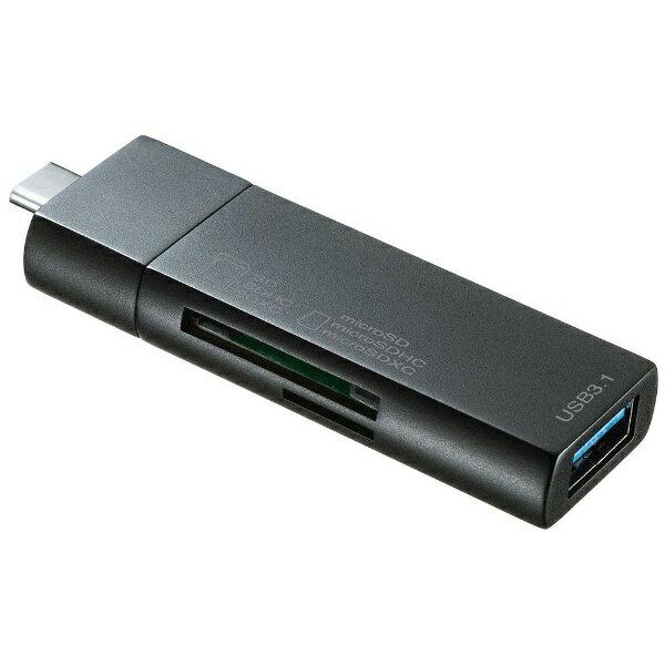 外付けドライブ・ストレージ, 外付けメモリカードリーダー  SANWA SUPPLY ADR-3TCMS7BK Type-C microSDSD USB3.0