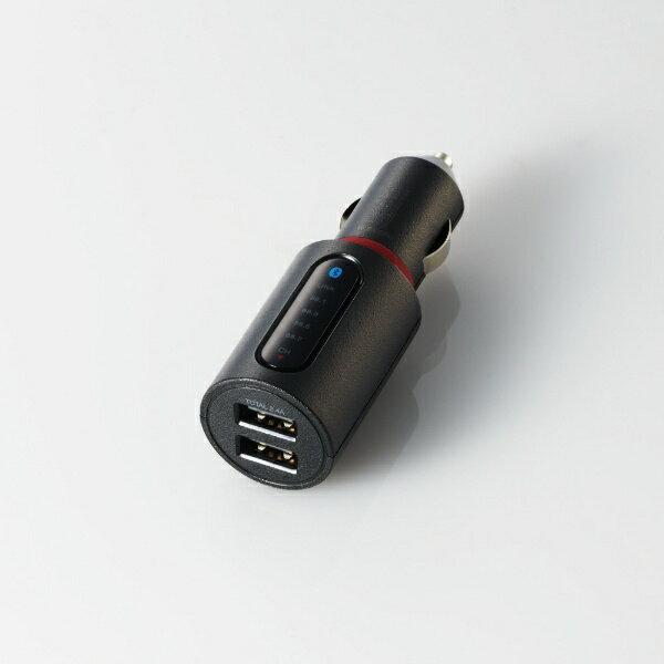 エレコム ELECOM FMトランスミッター/Bluetooth/USB2ポート付/2.4A/おまかせ充電/4チャンネル LAT-FMBT03BK ブラック画像