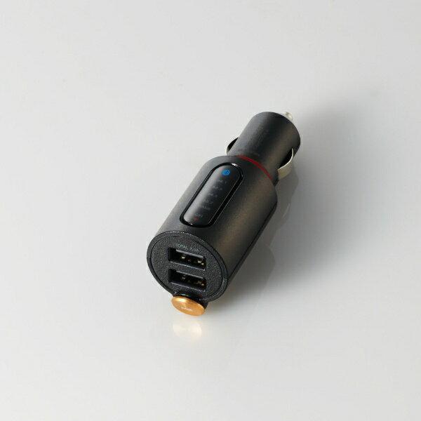 エレコム ELECOM FMトランスミッター/Bluetooth/USB2ポート付/3.4A/おまかせ充電/重低音モード付/4チャンネル LAT-FMBTB04BK ブラック画像