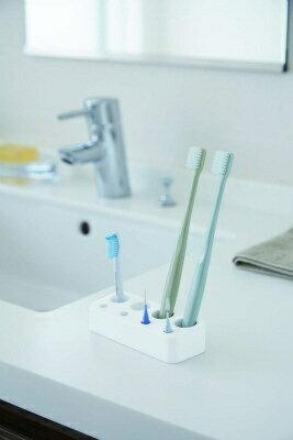 山崎実業 Yamazaki 歯ブラシ&歯間ブラシスタンドミスト ホワイト(Mist ToothBRush And Interdental BRush Stand WH) 03394