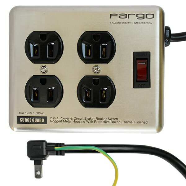 ファーゴ Fargo スチールタップ STEEL TAP シルバー PT400SV [1.8m /4個口 /スイッチ付き(一括)]