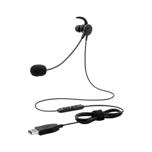 エレコム ELECOM ヘッドセット ブラック HS-EP16UBK [USB /片耳 /イヤホンタイプ]