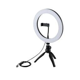 エレコム ELECOM LEDリングライト 26cm ミニ三脚スタンド付き 3色モード 10段階調光 USB給電 DE-L03BK
