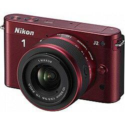 【送料無料】ニコンNikon 1 J2【標準ズームレンズキット】(レッド)/デジタル一眼 [Nikon1J2...