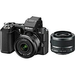 【送料無料】ニコンNikon 1 V2【ダブルレンズキット】(ブラック)/デジタル一眼 [Nikon1V2WLK]