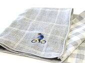 自転車/おしゃれ/自転車柄/チェック柄/和柄/雑貨/綿100%/日本製/ダブルガーゼ/レディース/自転車モチーフ/プレゼント/モチーフ/サイクリスト/ふわふわ/おしゃれ/自転車刺繍/サイクリング