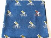 【メール便】ハンカチプレゼントハンカチーフおしゃれメンズレディース可愛い自転車柄うさぎサイクリストサイクリング自転車モチーフ綿100%日本製男性用父の日贈り物ギフトお土産かわいい絵柄自転車とウサギ