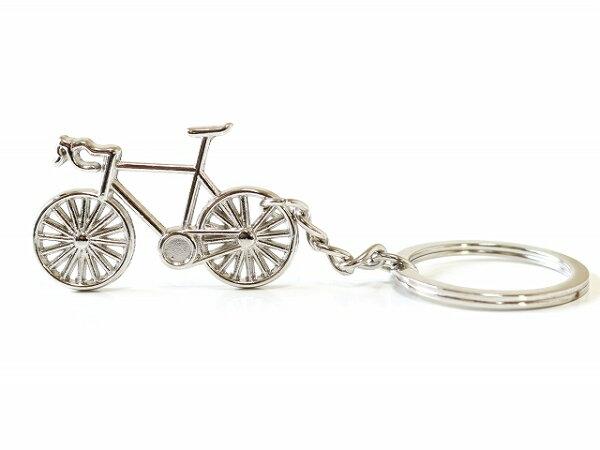 /ロードバイク自転車キーホルダー鍵おしゃれメンズレディース/キーリング自転車モチーフ/かわいいバッグチャム/シルバー自転車キーホ