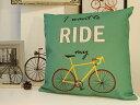 楽天【送料無料】クッションカバー 43×43/北欧/自転車柄/自転車モチーフ/ロードバイク ROAD