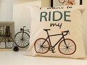 クッションカバー 43×43 北欧 自転車柄 かわいい 自転車モチーフ/ロードバイク ROAD 自転車モチーフ雑貨専門店☆ロードバイク 自転車 ツールドフランス CYCLE サイクル 観戦 リビング おしゃれ 弱虫ペダル グッズ 好き