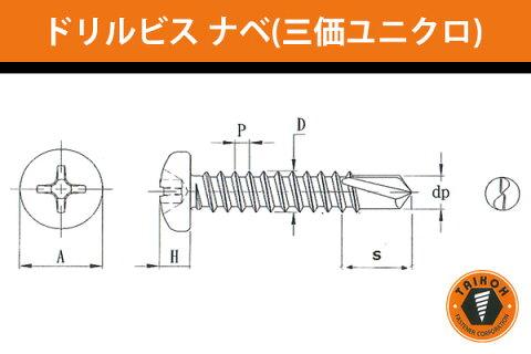 台灣小阪精工・小阪鋲螺製作所 ドリルビス ナベ (三価ユニクロ) 5x45 (250本) (BKP5045)