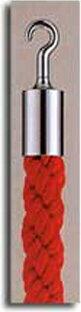 カラーロープAタイプΨ25mmフック:シルバーロープ:レッド日本製国産送料無料手数料無料ガイドロープ丸フック用赤黄青グレー白(全5色)120cm取付簡単仕切り