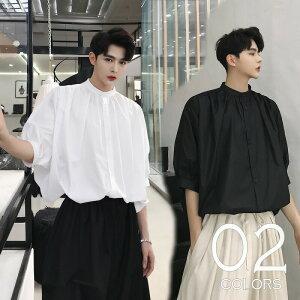 【在庫品】韓国 ファッション メンズ バンドカラーシャツ プリーツ ショートスリーブ 韓流 モード系 メンズ サロン系 ビッグシルエット ジェンダーレス 原宿系 韓国系メンズ ノーカラー 半袖 ゆったり メンズ ストリート系 カジュアル