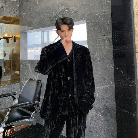 韓国 ファッション メンズ 3点セット ナイトスーツ パーティースーツ 成人式 ベルベット ジャケット ベスト パンツの3ピース ゆったり モード系 韓流 ホスト オラオラ 韓国系メンズ メンズ 結婚式 二次会 K-POP アイドル 衣装