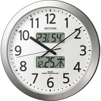 RHYTHM リズム時計 クロック 電波掛け時計 温湿度表示付 プログラムカレンダー404SR 4FN404SR19 (4FN404-019の新モデル)