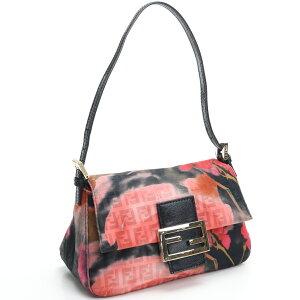 [بضائع تجميلية مستعملة] FENDI Mini Mamma Baguette حقيبة كتف حقيبة يد كوسة قماش وردي متعدد السيدات نمط الزوكا زهرة [الترتيب: S] us-1