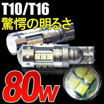 【送料無料】1年保証 LEDバルブ 80W T10/T16 ウェッジ球 ポジションランプ バックランプ オデッセイ ステップワゴン フィット ヴェゼル N-BOX N-ONE ヘッドライト