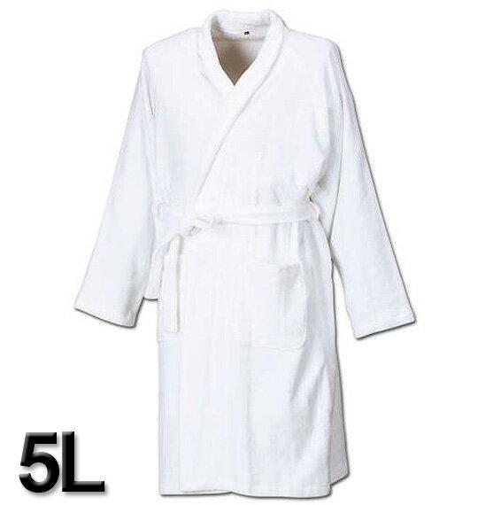 大きいサイズ メンズ バスローブ オフホワイト 5L 【コンビニ受取対応商品】