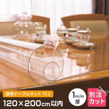テーブルマット 透明 厚み1mm 1200×2000mm以内 オーダーカット TC1-99 変型 クリア オーダー 変形 円形 多角形 長方形 楕円形 だ円形 角丸 透明マット クリアー 別注 120cm×200cm テーブルクロス 送料無料