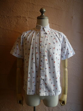 ★SUNSURF サンサーフ★HULA DANCER OXFORD S/S SS34973フラ総柄BD半袖シャツOFF WHITE(105)