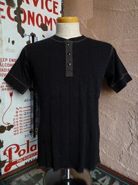 ★WHITESVILLEホワイツビル★S/S HENLEY T-SHIRT WV-74988フラットシーマ縫製ハリヌキヘンリーTシャツ119BLK