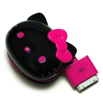 ☆ ◆ 凱蒂貓 (HELLO KITTY) iPhone iPod 基座連接器模具切 (類型臉) 交流充電器與黑色的 PG-KTYJU051DO P19May15