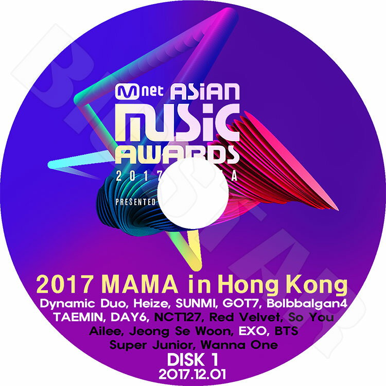 アジア・韓国, 韓国 K-POP DVD2017 MAMA in HONGKONG Part 1(2017.12.01)Mnet Asian Music AwardsSUNMI GOT7 TAEMIN EXO Dynamic DuoLIVE KPOP DVD