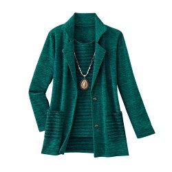 ※お取り寄せ商品です!【秋冬 テーラード杢調 アンサンブル】p17877グリーン系 トップス レディース 婦人 ミセス シニア カーディガン カットソー ボーダー柄 縞模様 テーラードジャケット セット 緑色
