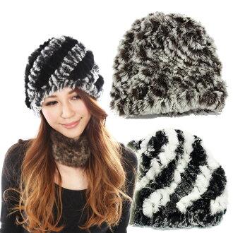 """美麗頭髮兔毛編織和針織帽子軟這是一個簡單的設計,為成人""""10P05Dec15 兔毛毛皮帽子和毛皮 / 真正遠."""""""
