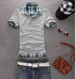 ポロシャツ トップス カジュアルシャツ メンズ 定番半袖 男女兼用チェック柄ポロシャツ tシャツ カットソー ゴルフウェア トップス ユニセックス