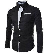 シャツカジュアル長袖シャツメンズトップス袖ロールアップストライプ切り替えボーダードレス長袖きれいめビジネスシャツ
