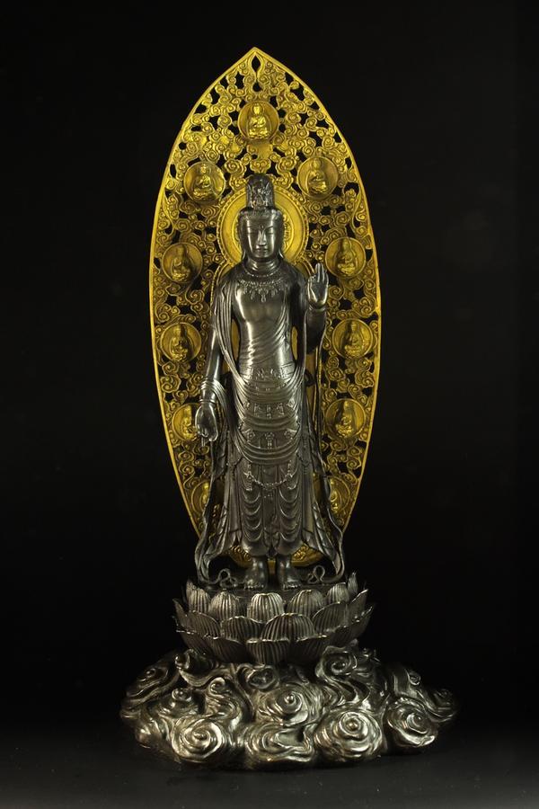 【送料無料】仏像 インテリア 国宝 薬師寺東院堂「聖観音菩薩立像」ブロンズ像 銅像彫刻
