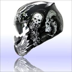 【クレスト】インナーバイザー付きフリップアップシステムヘルメット アルファスカル ALPHA SKULL